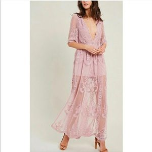 Honey Punch As You Wish Lace Pink Romper v-neck